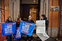 Roma, 25 Gennaio 2013.Flash mob dei movimenti per l'acqua libera per chiedere il rispetto del voto referendario e le dimissioni dei membri dell'autorità per l'acqua