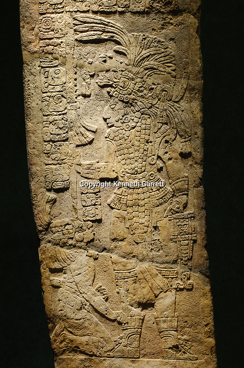 Maya Rise and Fall; Mexico City; National Museum of Anthropology and History; INAH; Yaxchilan; Stela 15; Warrior; Captive Mayan; Maya; Ancient Cultures, artifact