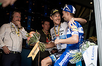 European Champion Matteo Trentin (ITA/Mitchelton-Scott) wins stage 17, the 4th stage win by his Mitchelton-Scott team and celebrates with Yellow Jersey Julian Alaphilippe (FRA/Deceuninck - QuickStep) backstage on the finish podium<br /> <br /> Stage 17: Pont du Gard to Gap (206km)<br /> 106th Tour de France 2019 (2.UWT)<br /> <br /> ©kramon