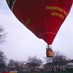 A294GB Red hot air balloon taking off