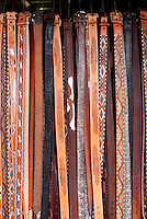 Handmade leather belts for sale lin the market, city of Veracruz, Mexico