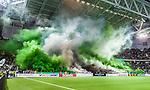nStockholm 2014-09-28 Fotboll Superettan Hammarby IF - IK Sirius :  <br /> Hammarbys supportrar r&ouml;k och r&ouml;kbomber inf&ouml;r den andra halvleken i matchen mellan Hammarby och Sirius <br /> (Foto: Kenta J&ouml;nsson) Nyckelord: Superettan Tele2 Arena Hammarby HIF Bajen Sirius IKS supporter fans publik supporters r&ouml;k bengaler bengaliska eldar eld r&ouml;kbomb r&ouml;kbomber inomhus interi&ouml;r interior