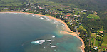 Hanalei Bay<br /> A stunning aerial view via helicopter of the beautiful crescent shaped bay and town of Hanalei<br /> Hanalei - Kauai, Hawaii