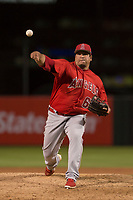 Los Angeles Angels relief pitcher Eduardo Paredes (60) during a Minor League Spring Training game against the Milwaukee Brewers at Tempe Diablo Stadium on March 29, 2018 in Tempe, Arizona. (Zachary Lucy/Four Seam Images)