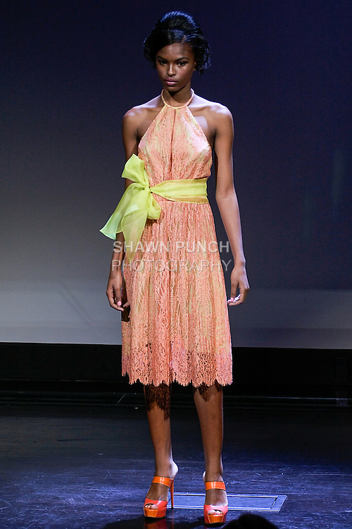 "Cici poses in an outfit from the Douglas Hannant Spring 2013 ""A Daydream"" collection, at the New York Historical Society, during New York Fashion Week Spring 2013."