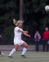 Boston College forward/midfielder Rachel Davitt (24) heads the ball. Boston College defeated North Carolina State,1-0, on Newton Campus Field, on October 23, 2011.