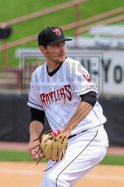 Wisconsin Timber Rattlers pitcher Gabe Friese (29) during a Midwest League game against the Lansing Lugnuts on May 8th, 2018 at Fox Cities Stadium in Appleton, Wisconsin. Lansing defeated Wisconsin 11-4. (Brad Krause/Krause Sports Photography)