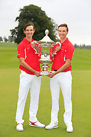 Nicolai Hojgaard and Rasmus Hojgaard team Denmark winners of the World Amateur Team Championships Eisenhower Trophy 2018, Carton House, Kildare, Ireland. 08/09/2018.<br /> Picture Fran Caffrey / Golffile.ie<br /> <br /> All photo usage must carry mandatory copyright credit (&copy; Golffile | Fran Caffrey)