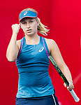 Daria Gavrilova of Australia competes against Zarina Diyas of Kazakhstan during the singles first round match at the WTA Prudential Hong Kong Tennis Open 2018 at the Victoria Park Tennis Stadium on 09 October 2018 in Hong Kong, Hong Kong. Photo by Yu Chun Christopher Wong / Power Sport Images