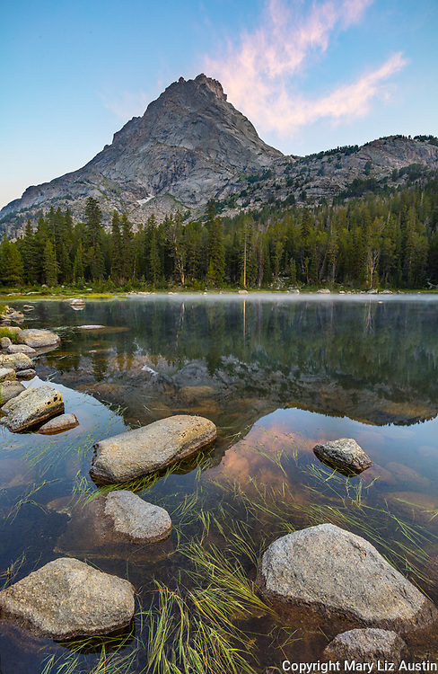 Wind River Range, WY: Lizard Head reflected in Horseshoe Lake at sunrise; Popo Agie Wilderness; Shoshone National Forest