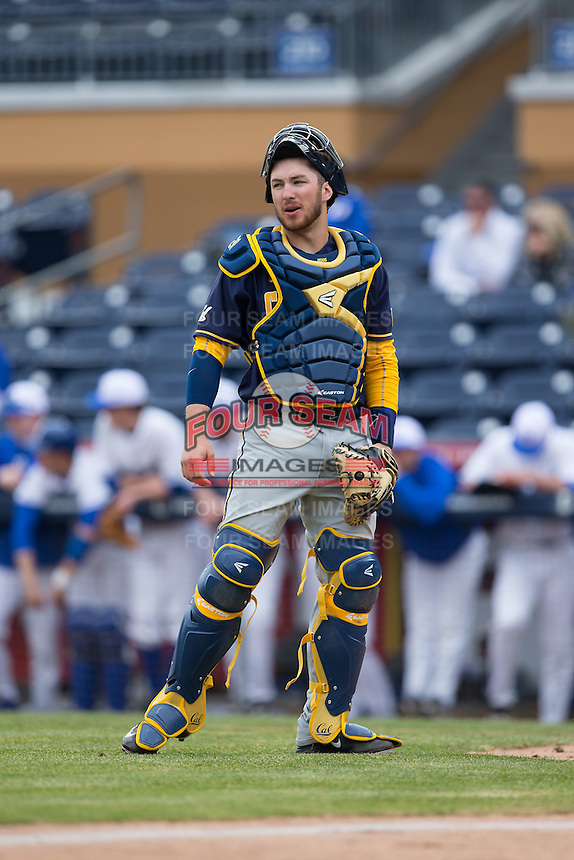 California Golden Bears catcher Brett Cumberland (28) on defense against the Duke Blue Devils at Durham Bulls Athletic Park on February 20, 2016 in Durham, North Carolina.  The Blue Devils defeated the Golden Bears 6-5 in 10 innings.  (Brian Westerholt/Four Seam Images)