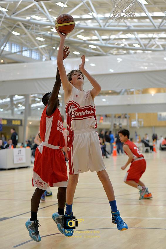 Action from the Basketball - U15 National Champs at ASB Sports Centre, Wellington, New Zealand on Friday 18 July 2014. <br /> Photo by Masanori Udagawa. <br /> www.photowellington.photoshelter.com.