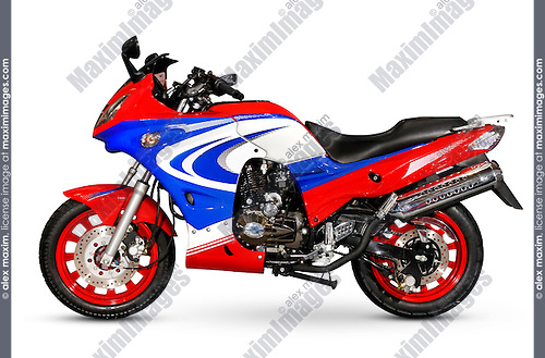 Colorful red blue motorbike isolated on white background with clipping path