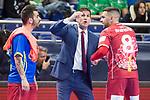 Elpozo Murcia coach Eduardo Sao Thiago talking with Alejandro Yepes and Andres Alcantara during Futsal Spanish Cup 2018 at Wizink Center in Madrid , Spain. March 15, 2018. (ALTERPHOTOS/Borja B.Hojas)