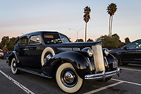 Automotive history, a 1938 Packard Eight, visits the Horatio's parking lot at San Leandro Marina.  Presumably, its owner and perhaps companion, visited the restaurant.