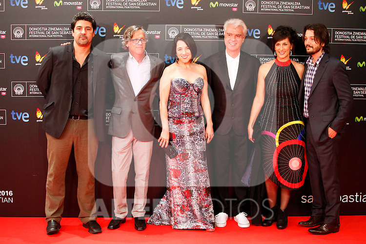 Members of the jury Mariela Besuievsky, David Byrne, Paulina García, Cesc Gay, Diego Luna, Todd Haynes (President) posses in the photocall of the 61 San Sebastian Film Festival, in San Sebastian, Spain. September 20, 2013. (ALTERPHOTOS/Victor Blanco)
