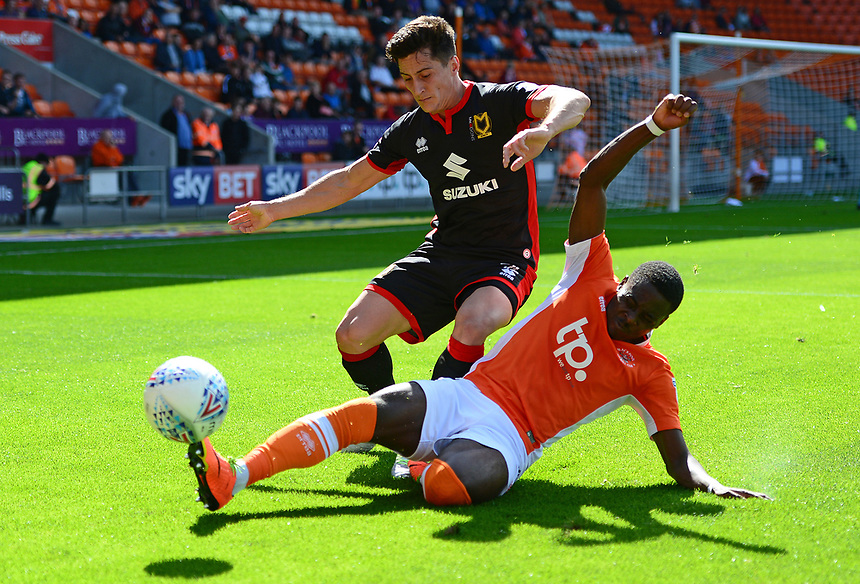 Blackpool's Bright Osayi-Samuel challenges Milton Keynes Dons' George Williams<br /> <br /> Photographer Richard Martin-Roberts/CameraSport<br /> <br /> The EFL Sky Bet League One - Blackpool v Milton Keynes Dons - Saturday August 12th 2017 - Bloomfield Road - Blackpool<br /> <br /> World Copyright &copy; 2017 CameraSport. All rights reserved. 43 Linden Ave. Countesthorpe. Leicester. England. LE8 5PG - Tel: +44 (0) 116 277 4147 - admin@camerasport.com - www.camerasport.com