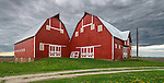 Bureau County,Illinois:<br /> Unusual double barn under a stormy sky