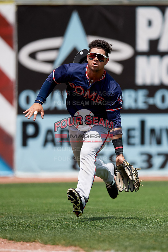 Rome Braves first baseman Jefrey Ramos (22) charges in to try to catch a fly ball during a game against the Lexington Legends on May 23, 2018 at Whitaker Bank Ballpark in Lexington, Kentucky.  Rome defeated Lexington 4-1.  (Mike Janes/Four Seam Images)