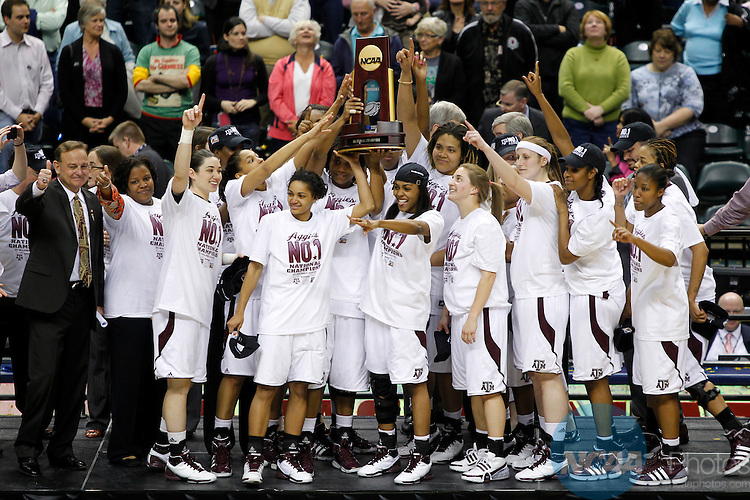 05 APR 2011:  The Texas A&M women's basketball team celebrates with the National Championship trophy after winning the Division I Women's Basketball Championship held at Conseco Field in Indianapolis, IN.  The Aggies defeated the University of Notre Dame by a score of 76-70 to take home the National Championship.  Trevor Brown, Jr./NCAA Photos