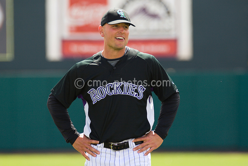 Mar 17, 2008; Tucson, AZ, USA; Colorado Rockies left fielder Matt Holliday (5) smiles during pre-game introductions of a game against the San Francisco Giants at Hi Corbett Field.