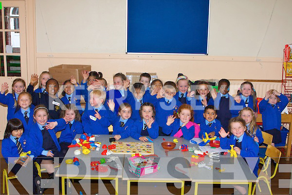 TOYS: Playing with their toys were Junior Infants as they attended their first day at Presentation Primary School, on Monday.