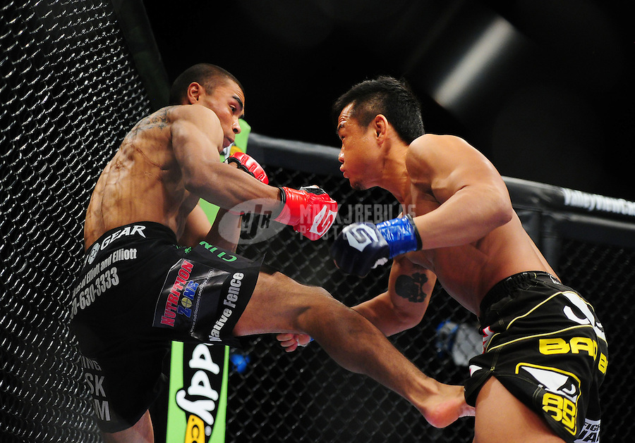 Apr. 9, 2011; San Diego, CA, USA; Strikeforce fighter Robert Peralta (left) against Hiroyuki Takaya during an undercard bout at the Valley View Casino Center.  Mandatory Credit: Mark J. Rebilas-
