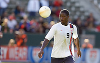 Eddie Johnson eyes the ball. The USA defeated Denmark 3-1 in an International friendly at the Home Depot Center in Carson, CA on January 20, 2007.