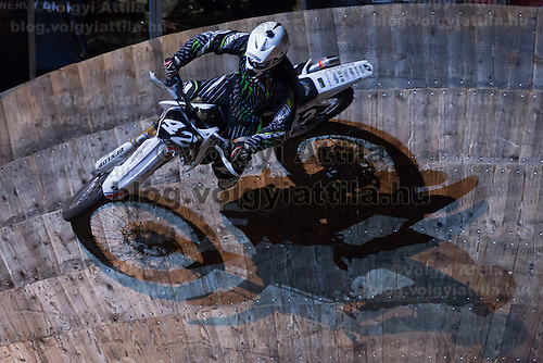 Gergely Polgar from Hungary competes during the Indoor Super Moto-Cross race in Budapest, Hungary on February 4, 2012. ATTILA VOLGYI