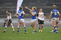 Picture by Anna Gowthorpe/SWpix.com - 15/04/2018 - Rugby League - Womens Super League - Bradford Bulls v Leeds Rhinos - Coral Windows Stadium, Bradford, England - Leeds Rhinos' Lois Forsell gives instructions to team-mates
