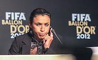 SAO PAULO, SP, 29 DE NOVEMBRO 2012 - BOLA DE OURO FIFA - Jogadora Marta jogadora durante anuncio da Bola de Ouro Fifa na manha desta quinta-feira no Parque Anhembi regiao norte da capital paulista. FOTO: VANESSA CARVALHO - BRAZIL PHOTO PRESS.