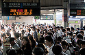 September 13, 2011 : Tokyo, Japan - People crowd the train platform due to train delays. (Photo by Yumeto Yamazaki/Nippon News)