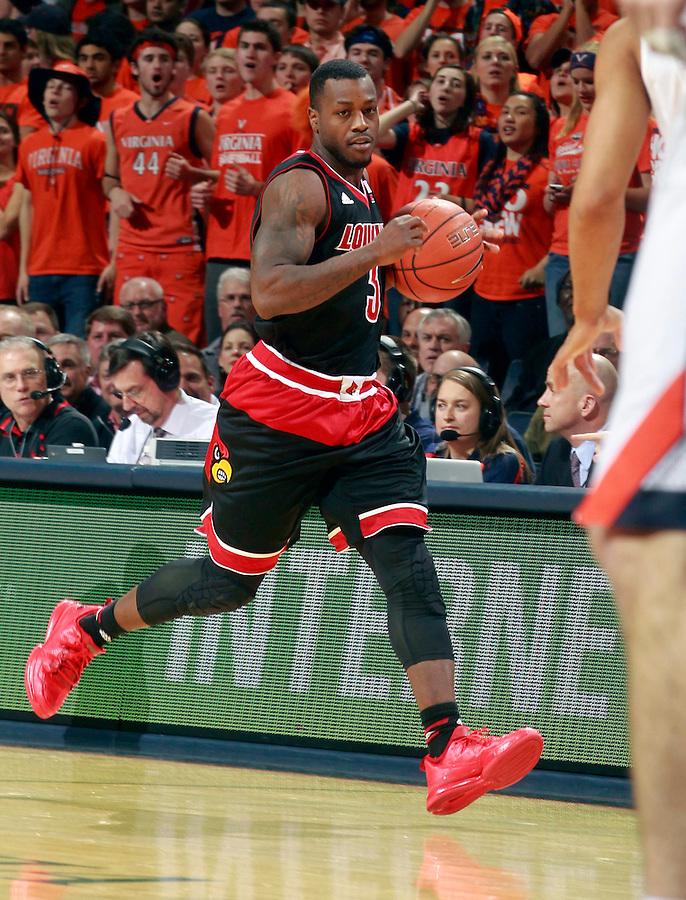 Louisville guard Chris Jones (3) during an NCAA basketball game Saturday Feb. 7, 2015, in Charlottesville, Va. Virginia defeated Louisville  52-47. (Photo/Andrew Shurtleff)
