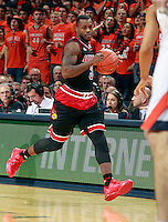 Louisville guard Chris Jones (3) during an NCAA basketball game Saturday Feb. 7, 2015, in Charlottesville, Va. Virginia defeated Louisville  52-47. (Photo/Andrew Shurtleff)
