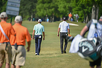 Sean O'Hair (USA) and Jimmy Walker (USA) head down 1 during Round 3 of the Zurich Classic of New Orl, TPC Louisiana, Avondale, Louisiana, USA. 4/28/2018.<br /> Picture: Golffile | Ken Murray<br /> <br /> <br /> All photo usage must carry mandatory copyright credit (&copy; Golffile | Ken Murray)