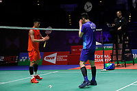 13th March 2020, Arena Birmingham, Birmingham, UK;  Chinas Chen Long 1st L and Malaysias Lee Zii Jia 2nd L greet each other after the men s singles quarterfinal match at the All England Open Badminton Championships in Birmingham