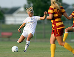 BROOKINGS, SD - AUGUST 23:  Katie McNeary #17 from South Dakota State University passes the ball to a teammate against Iowa State in the first half of their game Friday evening at Fischback Soccer Field in Brookings. (Photo by Dave Eggen/Inertia)