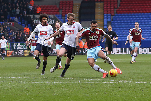 27.02.2016. Macron Stadium, Bolton, England. Skybet Championship. Bolton versus Burnley.<br />