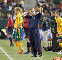 Glasgow Rangers FC Assistant coach Ally McCoist gives the thumbs up to Rangers supporters. Glasgow Rangers FC beat the LA Galaxy 1-0 in a friendly match played at the Home Depot Center in Carson, California, Wednesday, May 23, 2007.