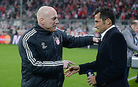 FUSSBALL  CHAMPIONS LEAGUE  VIERTELFINALE  HINSPIEL  2012/2013      FC Bayern Muenchen - Juventus Turin       02.04.2013 Mattias Sammer (li, FC Bayern Muenchen) begruesst Hassan Salihamidzic (re)