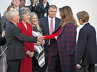 First lady Melania Trump and son Barron greet the Chapman family of Silent Night Evergreens as they accept the White House Christmas tree on the North Portico of the White House in Washington, DC on Monday, November 20, 2017.  The tree will stand in the Blue Room.<br /> Credit: Ron Sachs / CNP /MediaPunch /NortePhoto.com