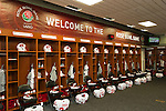 A general view of the Wisconsin Badgers locker room prior to the 2012 Rose Bowl NCAA football game against the Oregon Ducks in Pasadena, California on January 2, 2012. The Ducks won 45-38. (Photo by David Stluka)