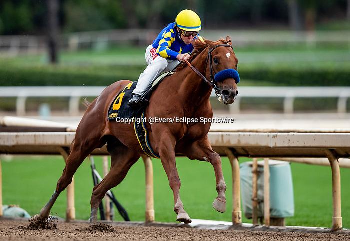 MAR 14: Charlatan and Drayden Van Dyke win an allowance race at Santa Anita Park in Arcadia, California on March 14, 2020. Evers/Eclipse Sportswire/CSM