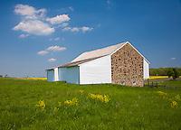 Gettysburg National Military Park, PA<br /> McPherson's barn in a spring field near Gettysburg