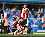 George Baldock of Sheffield Utd and Lee Evans of Sheffield Utd dejected during the championship match at St Andrews Stadium, Birmingham. Picture date 21st April 2018. Picture credit should read: Simon Bellis/Sportimage
