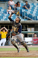 Catcher Brian Navarreto #5 of Arlington County Day High School in Jacksonville, Florida playing for the Atlanta Braves scout team during the East Coast Pro Showcase at Alliance Bank Stadium on August 1, 2012 in Syracuse, New York.  (Mike Janes/Four Seam Images)