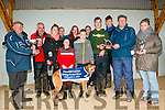 Ballyduff Coursing : Mike Slattery, chairman Ballyduff coursing presenting the Maurice O'Sullivan Perpetual Memorial Cup to Tom Whyte, owner of Memphis Rebel the winner of the Hearthill Interiors & Leagh Stake  at Ballyduff Coursing on Sunday last. L- R : Mike \Slattery, Tom Whyte, Kara, Dean, Davis, Chris Whyte, Maurice DowlingGer Lynch & Laura O'Rourke. Back : Margaret Griffin, Mary AnneWhyte & Shannon Whyte.
