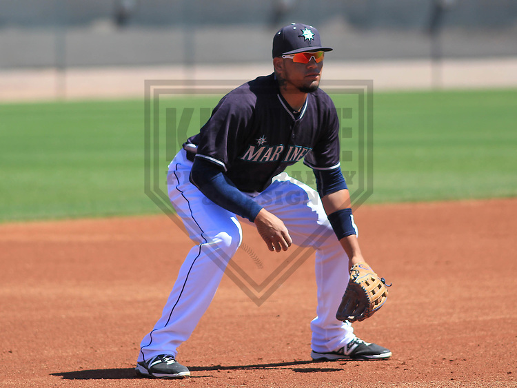 PEORIA - March 2015: Jordy Lara of the Seattle Mariners during a spring training game against the Kansas City Royals on March 27th, 2015 at Peoria Sports Complex in Peoria, Arizona. (Photo Credit: Brad Krause)