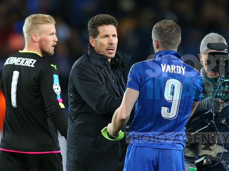 Leicester's Jamie Vardy is consoled by Atletico's Diego Simeone during the Champions League Quarter-Final 2nd leg match at the King Power Stadium, Leicester. Picture date: April 18th, 2017. Pic credit should read: David Klein/Sportimage