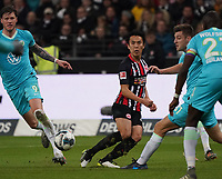 Querpass Makoto Hasebe (Eintracht Frankfurt) - 23.11.2019: Eintracht Frankfurt vs. VfL Wolfsburg, Commerzbank Arena, 12. Spieltag<br /> DISCLAIMER: DFL regulations prohibit any use of photographs as image sequences and/or quasi-video.